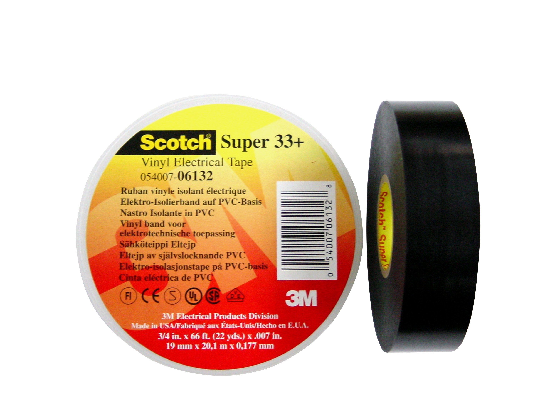 3M Scotch Super 33+ Vinyl Electrical Tape, Black, 38 mm x 20