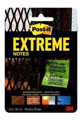 3M Post-it Extreme Notes, 3 Blöcke mit 45 Blatt, 76 x 76mm, Grün, Gelb & Orange