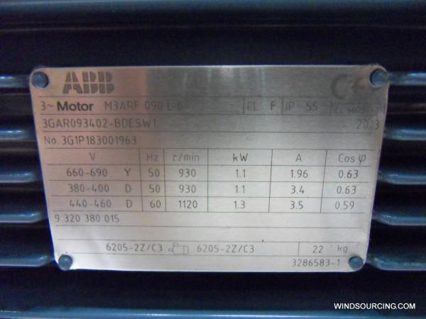 ABB Azimutmotor M3ARF 90L 6 (Siemens Nr. A9B10012708 / ABB Nr. 3GAR093402-BDESW1)